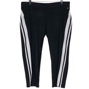Nike Pants Crop Drawstring Black White Stripe XL